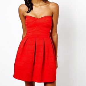 Strapless Summer Bright Red Dress XS / US 2